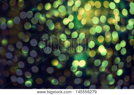 Abstract bright blur sparkle and glittering shine bubble lights background. Defocused banner template design festival backdrop with shining bokeh