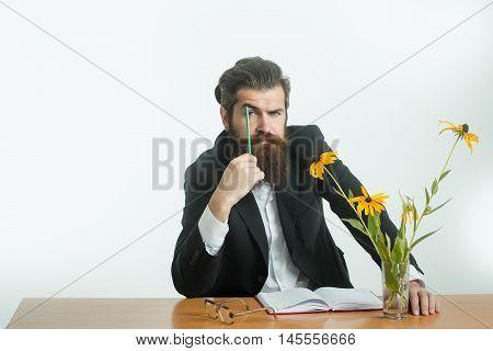 Bearded Man Professor Glasses At Table