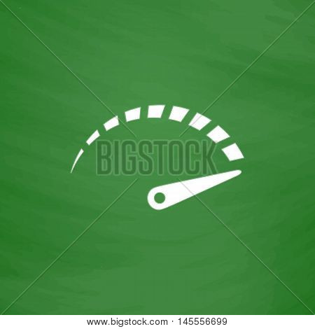 indicator Simple vector button. Imitation draw icon with white chalk on blackboard. Flat Pictogram