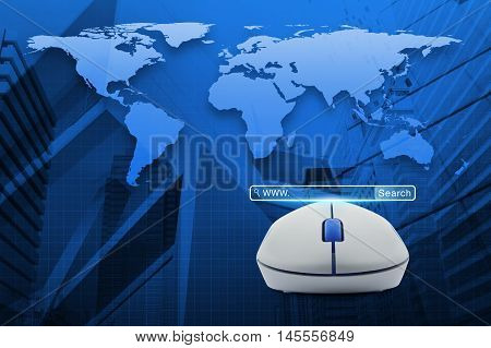 Wireless computer mouse with search www button over map and city tower Searching system and internet concept Elements of this image furnished by NASA