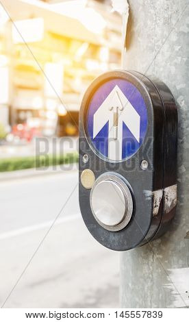 Old Crosswalk button  outdoor on the way