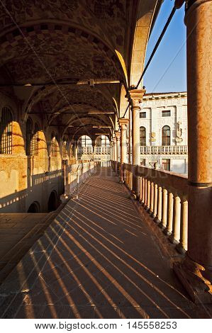 The loggia of the historic Palace of Reason in Padua, Italy.