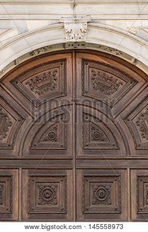 Detail of the portal in Gothic-Renaissance style of the dome in Montagnana Italy.