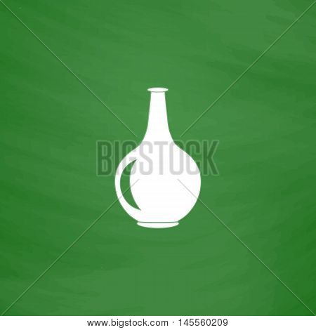 Amphora Simple vector button. Imitation draw icon with white chalk on blackboard. Flat Pictogram and School board background. Illustration symbol