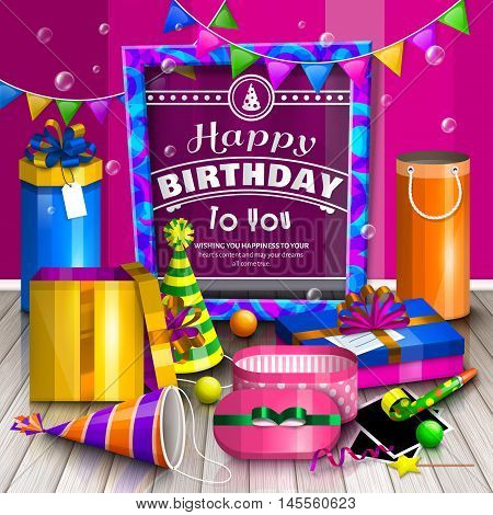 Happy birthday greeting card. Pile of colorful wrapped gift boxes. Lots of presents. Party hats, photo frames, soap bubbles, playing ball and colorful frame for your text on wooden floor.