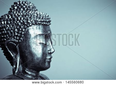 buddha face with closed eyes  close up
