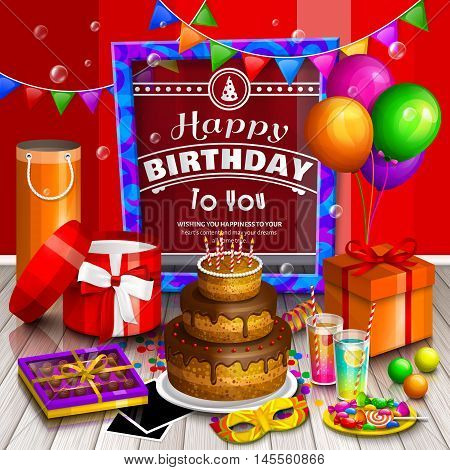 Happy birthday greeting card. Pile of colorful wrapped gift boxes. Lots of presents. Party balloons, masquerade, cake, cocktail, candies, chocolate, photo frames, soap bubbles, playing ball and colorful frame for your text on wooden floor.