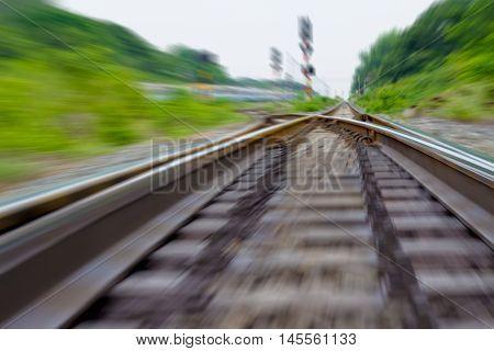 railway track train fast run on railway track