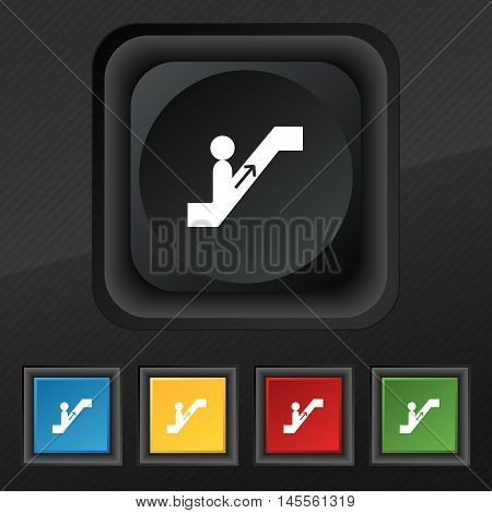 Escalator Icon Symbol. Set Of Five Colorful, Stylish Buttons On Black Texture For Your Design. Vecto