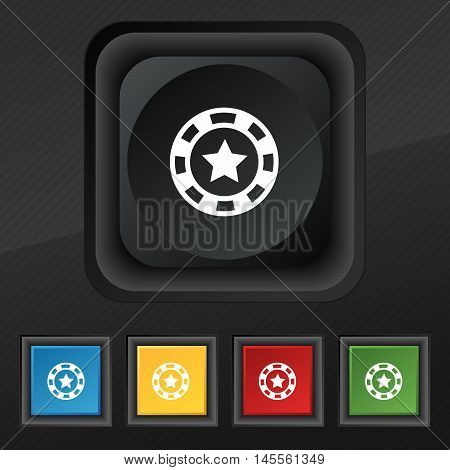 Gambling Chips Icon Symbol. Set Of Five Colorful, Stylish Buttons On Black Texture For Your Design.