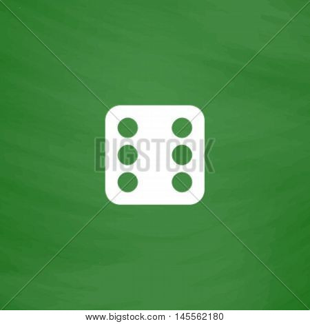 Dice 6 Simple vector button. Imitation draw icon with white chalk on blackboard. Flat Pictogram and School board background. Illustration symbol
