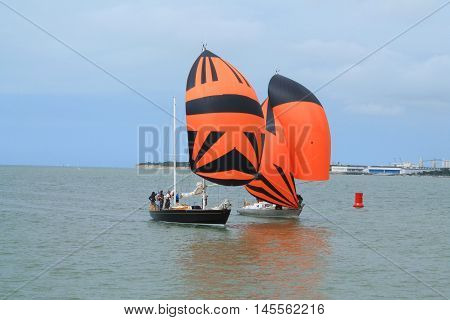 Sail boat at la Rochelle, seaport located on the Bay of Biscay, a part of the Atlantic Ocean