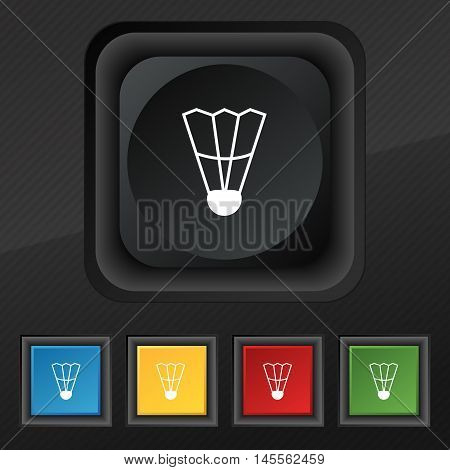 Shuttlecock Icon Symbol. Set Of Five Colorful, Stylish Buttons On Black Texture For Your Design. Vec