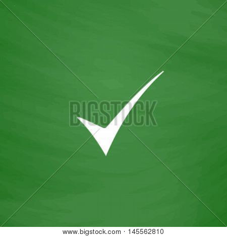 confirm Simple vector button. Imitation draw icon with white chalk on blackboard. Flat Pictogram and School board background. Illustration symbol