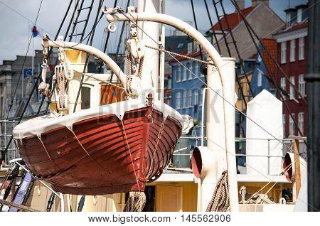 Life boat on the devit in marina, Kopenhagen, Denmark