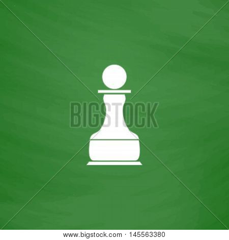 Chess Pawn Simple vector button. Imitation draw icon with white chalk on blackboard. Flat Pictogram and School board background. Illustration symbol