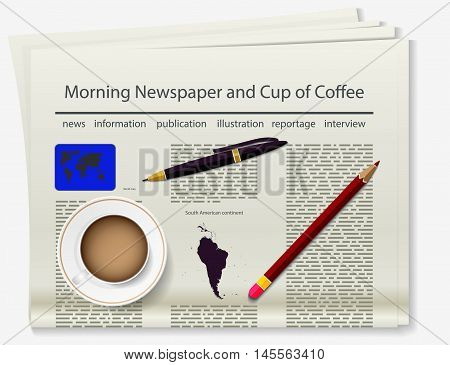 World map. Newspaper. Realistic image of the object. Vector illustration