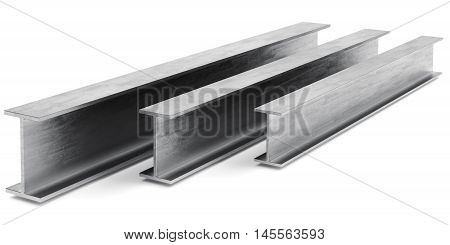 Steel I-beam. Flange beam on white background. 3D rendering