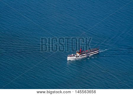 Queenstown, New Zealand - March 2016: Tss Earnslaw Vintage Steamship Cruises In Lake Wakatipu, Queen