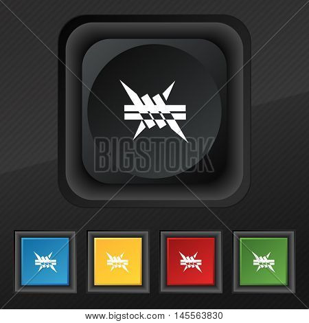 Barbed Wire Icon. Symbol. Set Of Five Colorful, Stylish Buttons On Black Texture For Your Design. Ve
