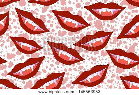 Halloween vector seamless pattern with smiling vampire lips and sticking out fangs