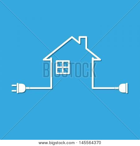 Silhouette of house with wire plug and socket - vector illustration. Simple icon with house socket and wire plug on blue background.