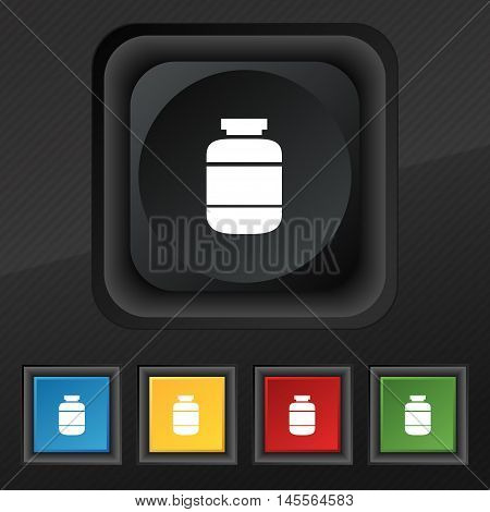 Medication Icon Symbol. Set Of Five Colorful, Stylish Buttons On Black Texture For Your Design. Vect