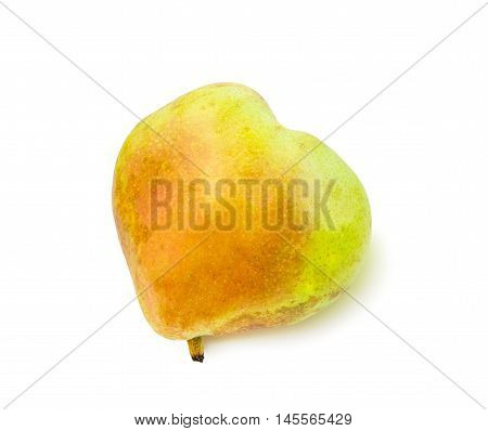 Ripe blushful heart shaped pear isolated over white.