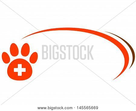 Background With Paw And Veterinarian Cross
