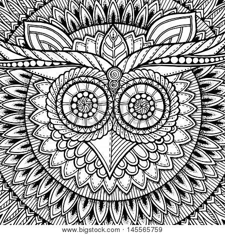 Birds mandala theme. Owl white mandala with abstract ethnic aztec ornament pattern on white background. Owl banner. Owl tattoo. Zentangle inspired. Stylized ethnic Owl. Black and white.