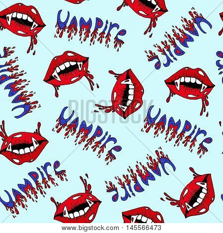 Vector Halloween seamless pattern. Vampire lips with sharp fangs and blood drops. Caption vampire with blood drops. Halloween costume party. Isolated on a blue background