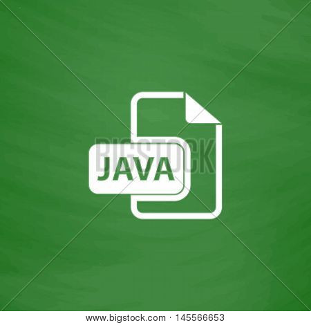 JAVA Simple vector button. Imitation draw icon with white chalk on blackboard. Flat Pictogram and School board background. Illustration symbol