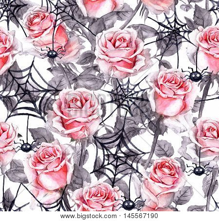 Pink roses, spiders, webs. Halloween repeating background Watercolor pattern