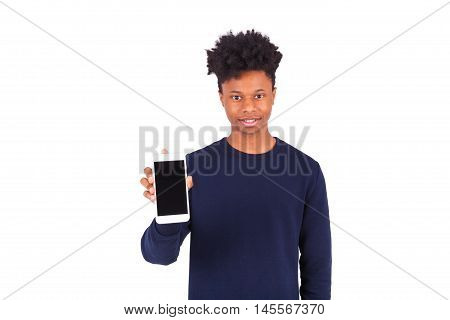 Young African American Man Showing His  Smartphone Screen - Black Teenager People