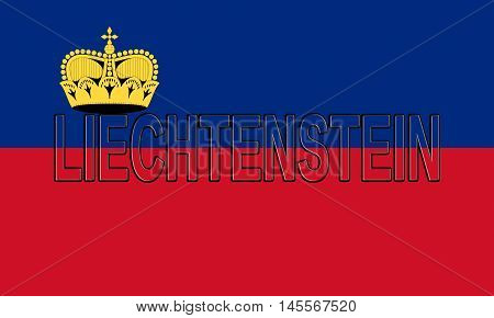 Illustration of the national flag of Liechtenstein with the country written on the flag