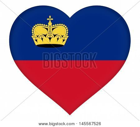 Illustration of the national flag of Liechtenstein shaped like a heart