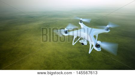 Photo White Matte Generic Design Air Drone with video camera Flying in Sky under the Earth Surface. Uninhabited Green Fields Background.Horizontal, front top angle view.Film Effect.3D rendering