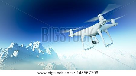 Photo White Matte Generic Design Modern Remote Control Drone with camera Flying in Sky under the Earth Surface. Grand Canyon Background. Horizontal, front side angle view. Film Effect. 3D rendering