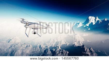 Photo White Matte Generic Design Modern Remote Control Drone with action camera Flying Sky under Earth Surface. Grand Canyon Background. Wide, front side angle view. Film Effect. 3D rendering