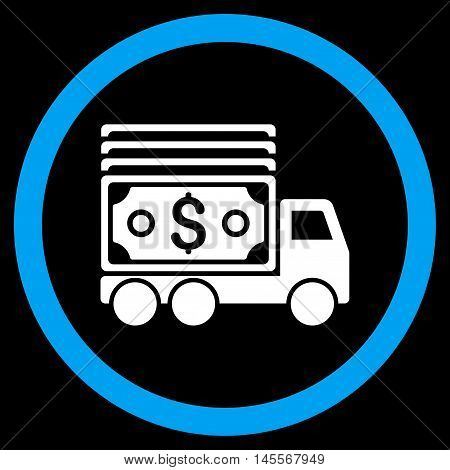 Cash Lorry vector bicolor rounded icon. Image style is a flat icon symbol inside a circle, blue and white colors, black background.