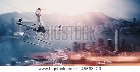 Photo White Matte Generic Design Remote Control Air Drone with action camera Flying Sky under City. Modern Megapolis Background. Wide, side view. Motion Blur, Bokeh Effect. 3D rendering