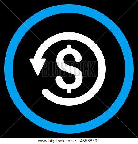 Chargeback vector bicolor rounded icon. Image style is a flat icon symbol inside a circle, blue and white colors, black background.