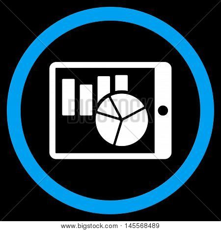 Charts on Pda vector bicolor rounded icon. Image style is a flat icon symbol inside a circle, blue and white colors, black background.
