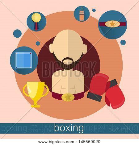 Boxer Man Boxing Icon Flat Vector Illustration