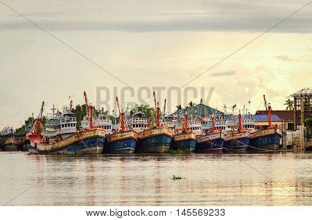 Samut Songkhram (Maeklong) Thailand October 2015- Fishermen boats on the river Maenam Tha Chin