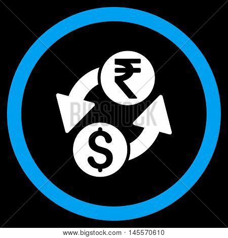 Dollar Rupee Exchange vector bicolor rounded icon. Image style is a flat icon symbol inside a circle, blue and white colors, black background.