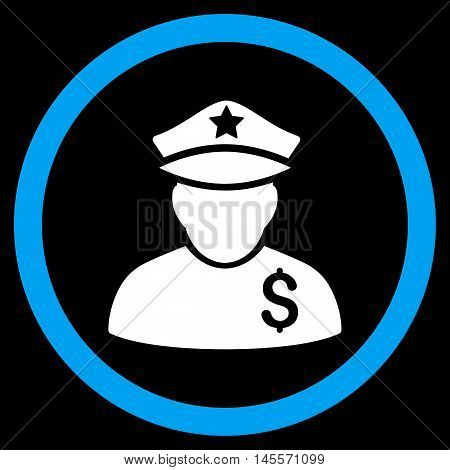Financial Policeman vector bicolor rounded icon. Image style is a flat icon symbol inside a circle, blue and white colors, black background.