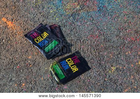 Empty Bags Of Colorful Powder At The Color Run In Milan, Italy