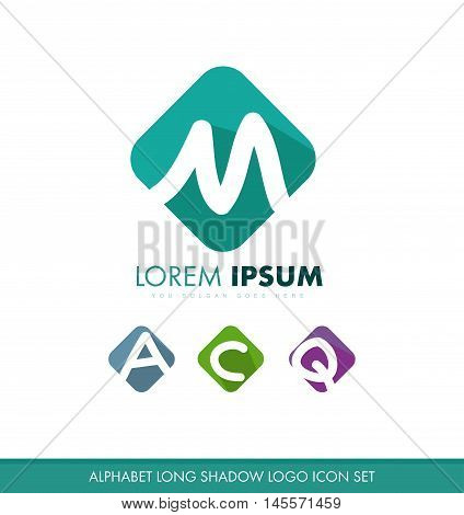 Alphabet letter m a c q x flat long shadow pastel color logo icon vector company element template
