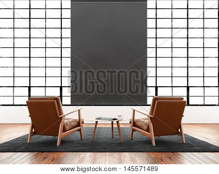 Modern interior studio loft huge panoramic window, natural color floor.Generic design furniture in contemporary business conference hall.Chillout lounge zone.Blank black poster hanging. 3D rendering